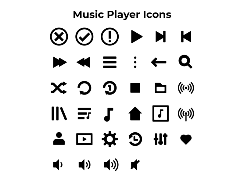 Music Player Icons by Cirquare on Dribbble