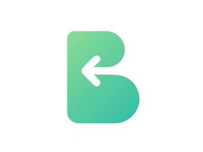 Letter B - Back Negative Space Logo