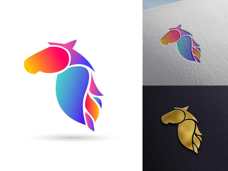 Gradient Horse modern mockup horse flat ux branding minimal illustration design logo icon gradient