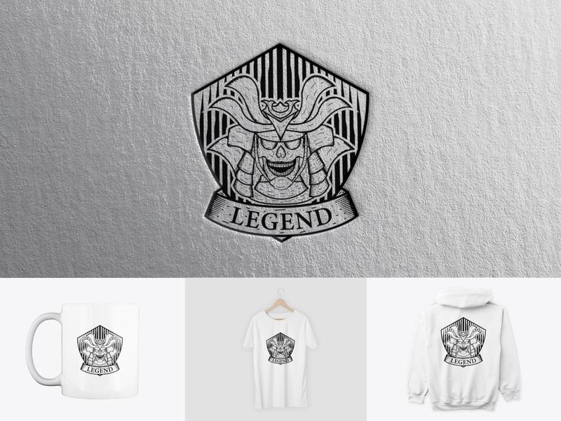 Legendary Samurai retro design vintage logo illustration skull logo samurai tshirt design shirt design clothing design branding logo icon