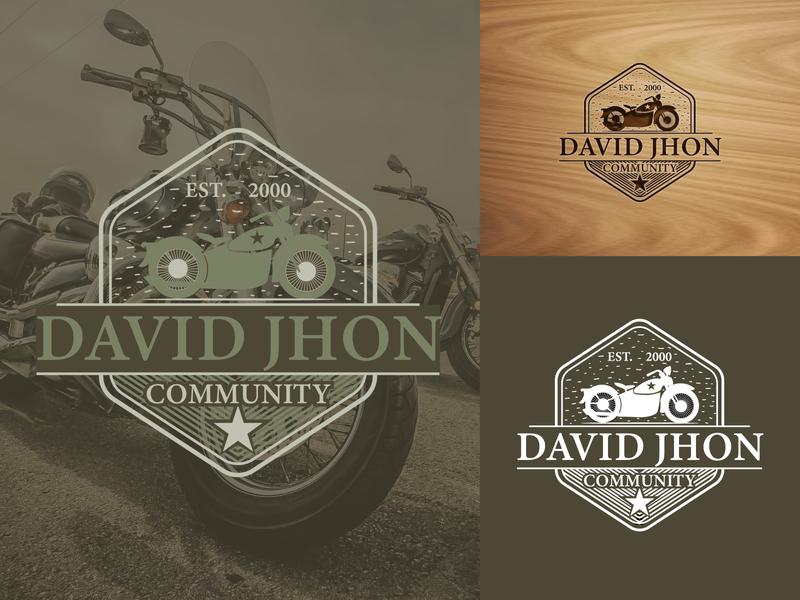 DAVIDJHON mockups minimal vintage logo vintage badge vintage design retro logo motorcycle icon design branding logo