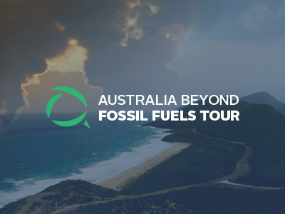 Aus Beyond Fossil Fuels Tour Logo logo branding vector typography environment fuel australia