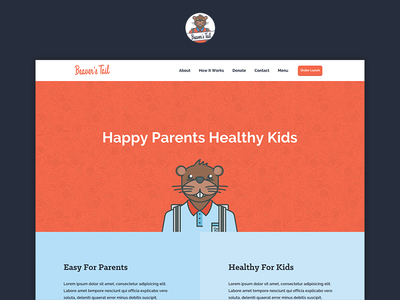 Beaver's Tail Website typography pattern lunches school illustration header image ux ui brand design web