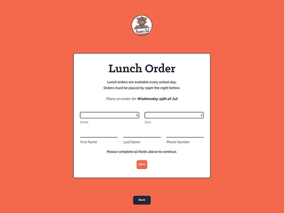 Lunch Order Section