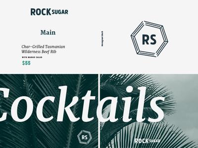 Rocksugar Brandboard asian restaurant design layout typography icon logo brand board brand