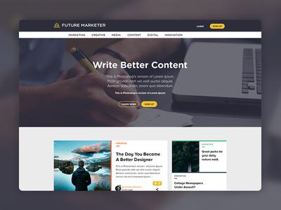Future Marketer Landing Page ux ui web navigation marketing hero image cards saas landing page