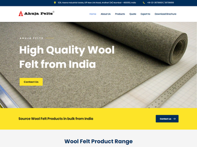 Ahuja Felts Co. Designed by Kazi Solutions logo ux ui branding woolen felts photoshop industrial design wordpress website design wordpress website design web development landing page design landing page homepage elementor theme builder elementor
