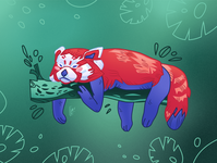 "Vector illustration ""Red panda lays on a log"""