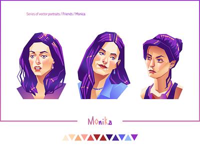 """Friends. Monica"" d-v-r show vector illustration vector art vectors vector girl portrait 90s tv show girl vector portrait portraits portrait friends monica"