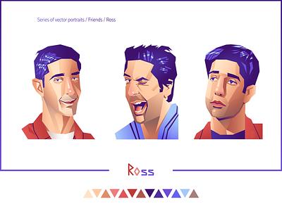 """""""Friends. Ross"""" character portraits fanart 90s tv show friends ross ross geller portrait vector portrait vector vector art d-v-r"""
