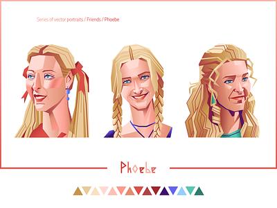 """""""Friends. Phoebe"""" phoebe buffay portraits portrait girl portrait phoebe 90s tv show friends vector portrait vector vector art d-v-r"""