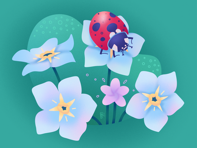 "Vector illustration ""Forget-me-nots with a ladybug"""