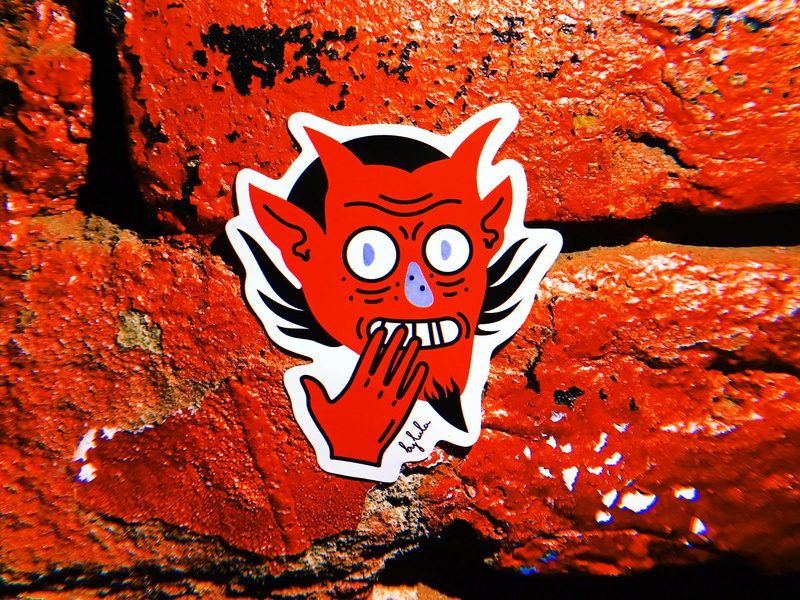 Cheerful Satan by luladmitrieva smile red satan devil humor minimal graphic design sticker stickers иллюстрация illustration design