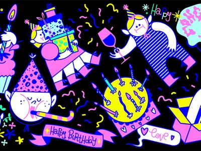 Giphy Birthday Pack motion design motion animation gif animation gif animated gif giphy instagram emoji cartoon ai vector humor design stickers sticker иллюстрация illustration
