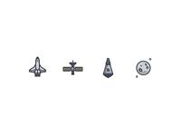 Space Icons spacex branding flat design graphic illustration design minimal flat logo illustrator vector icon pixel perfect