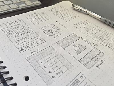 Sketches for Apollo apollo app ios iphone reddit notebook sketch pencil wireframe prototyping graphgear mobile