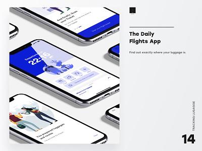 The Daily Flights App ux ui mockup ux ui design ux  ui luggage flight app illustration app branding ui design tracking app flights