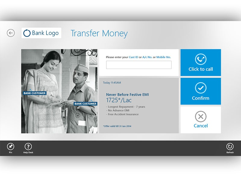 Money Transfer windows 8 bank kiosk application