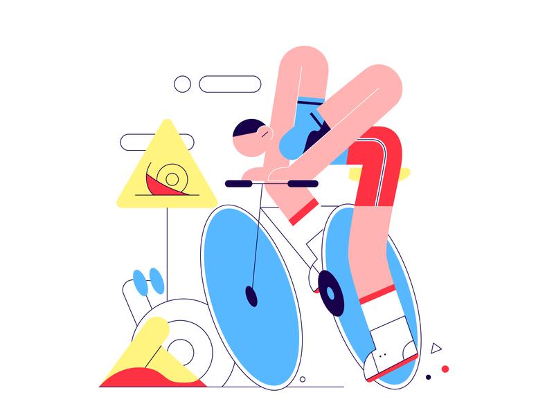 Huumph! vector illustration free illustration figmadesign traffic snail cyclist ui flat vector drawing design illustration 2d art