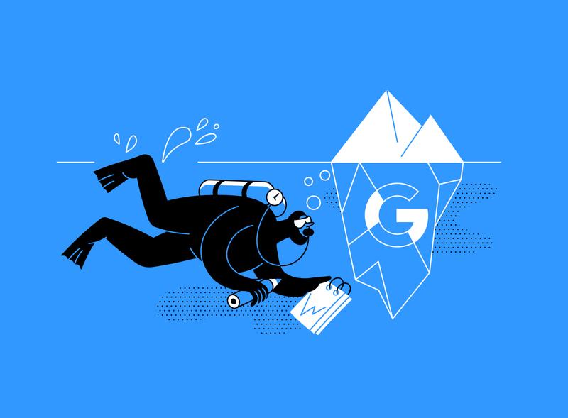 Google My Business Tips flat article design tips diving ui smm app iceberg vector drawing design illustration 2d art