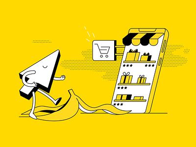 Errores en una tienda online que te pueden hacer fracasar banana leaf ui branding book art article design flat vector drawing design illustration 2d art