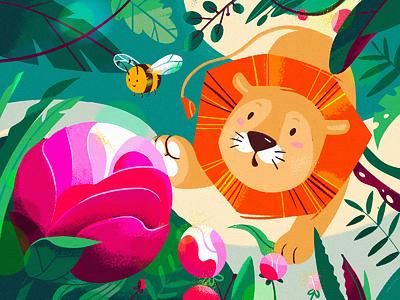 Lion hello bookart gift card summer flower leon leo bee article design flat vector drawing design illustration 2d art
