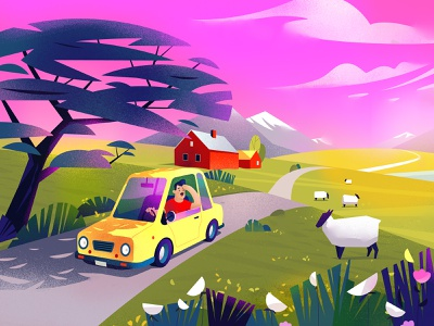 journey vector illustration vector art vectors video traveling motion design yellow cartoon sheeps car branding ui book art article design flat vector drawing design illustration 2d art
