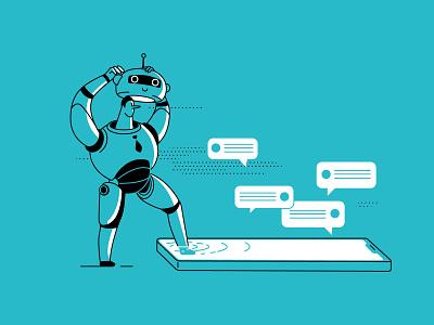 How to use chatbots for business digital app ux logo comics ui article design book art flat vector drawing design illustration 2d art business chatbots