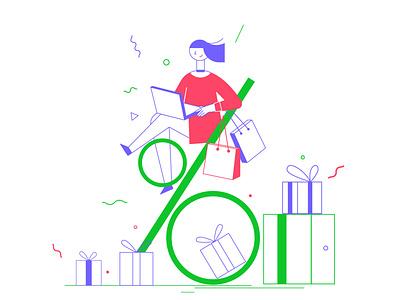 your discount discount code bannner discount ux ui article design flat vector drawing design illustration 2d art