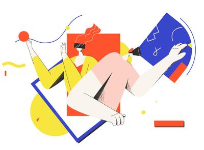 VR vr article design flat vector drawing design illustration 2d art