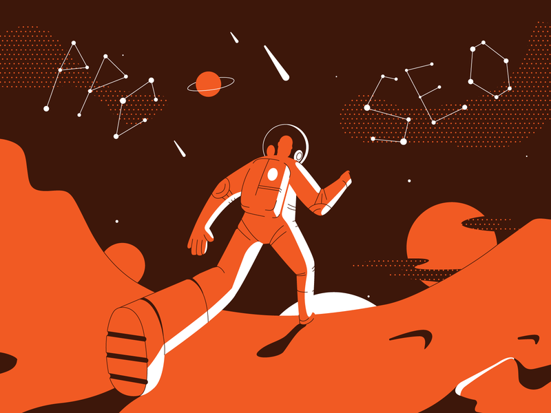 Exploring the marketing universe mars step planet cosmonaut cosmos star seo ppc space branding ui book art article design flat vector drawing design illustration 2d art