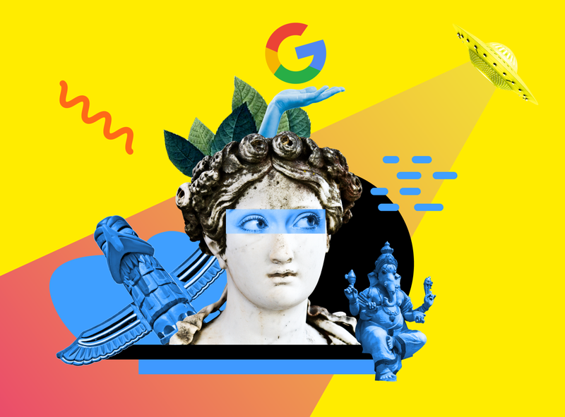 Stop believing Google myths ufo branding article design flat collages 2d art