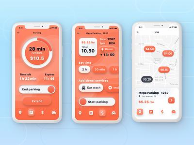 Car Parking Mobile App ios iphone car auto parking neumorphism orange ux interface app mobile car parking