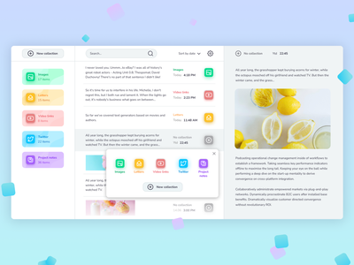 Clipboard Manager Concept pastel white manager clipboard dashboad design ux interface inter