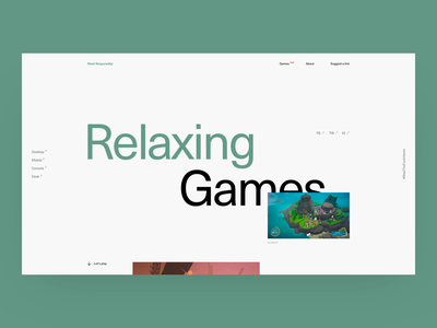 Work Responsibly - Relaxing games [wip] after effects ales work responsibly sleep stress gaming productivity astroneer minimal mindfulness landing page typography parallax relax relaxing health games calm anxiety ales nesetril