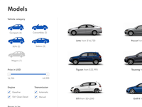 VW Redesign - Dropdown with models
