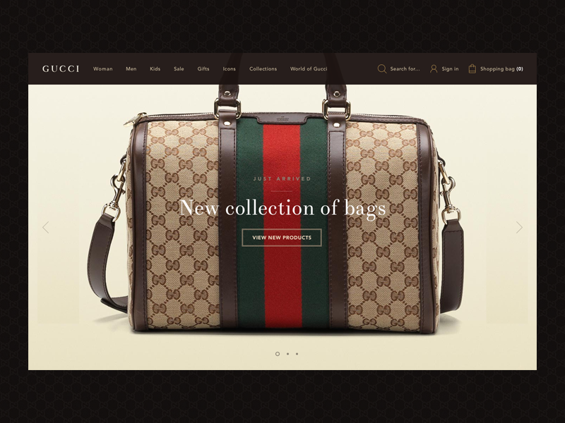 Gucci Homepage Concept gucci homepage dark bag luxury top navigation serif font
