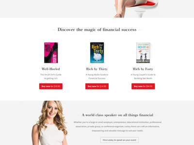Lesley-Anne Scorgie Personal Website personal author financial woman website red money books covers. whitespace clean simple