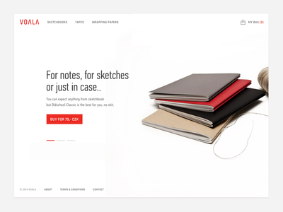 Voala Homepage voala red clean cart bag minimalistic whitespace white sketchbook store shop notebook