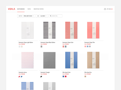 Voala Product Category product category products grid sketchbooks colors stripes category filter minimalistic whitespace clean nesetril