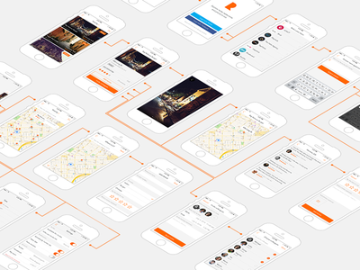 Diagram/Overview diagram ux ios screens ios app links perspective mockups stroke overview