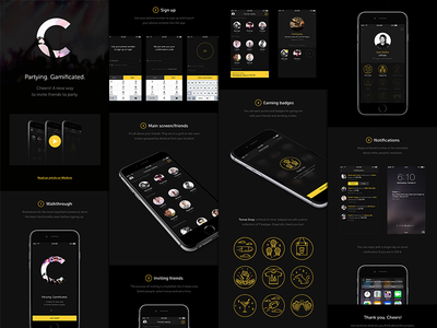 Cheers on Behance case study behance cheers yellow dark ui user interface video badges iphone 6 partying inviting