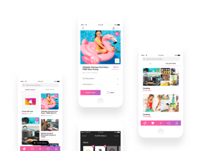 Discounts iOS App gradients ios design ui design gradient nav bar ios ui design proposal purple pink collections grid deals discounts