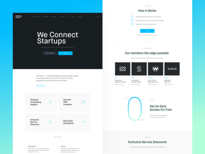 StartupFund - Frontpage (v1) centered layout light green aqua ales nesetril strvcom strv startupfund landing page frontpage homepage startup