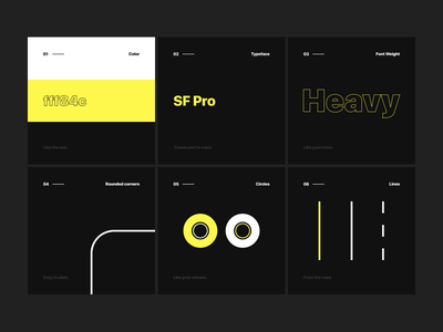 Skate - Design Style style guide ios dark sf pro dark yellow ales nesetril skateboarding skate skate project ui direction design direction design style yellow