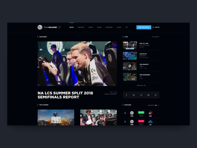 TSM Website Concept - Homepage dark fade in news grid players dark ui esports team team gaming news live video twitch livestream esports homepage tsm esports strvcom ales nesetril
