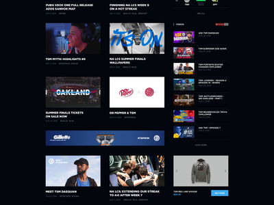 TSM Website Concept - Homepage dark fade in news grid players dark ui esports team team gaming news live video twitch livestream esports homepage tsm esports strvcom ales nesetril