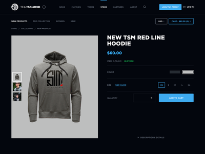 TSM Website Concept - Store merch dark webdesign dark ui gamer jersey esports website gaming website team solomid league of legends esports ales nesetril gaming web design tsm product detail store