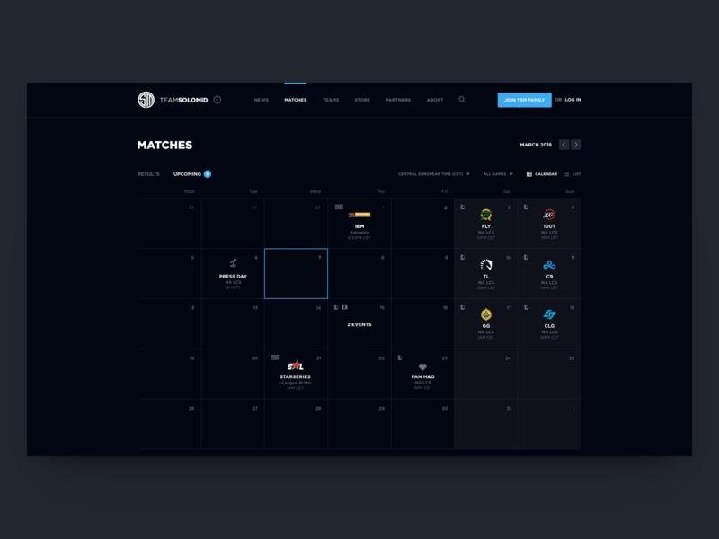 TSM Website Concept - Calendar
