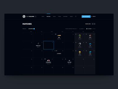 TSM Website Concept - Calendar ales nesetril dark web dark ui dark webdesign calendar app web calendar cal tsm team solomid esports gaming matches upcoming days team website gaming team calendar view calendar grid web grid
